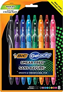 BIC Gel-ocity Quick Dry (Dries Up To 3x Faster) SUPER BRIGHT COLORS 8 Pack, Smear Free, Assorted Colors Retractable Gel Pens, Medium Point (0.7mm), Colorful Pens for adults Women & Men.