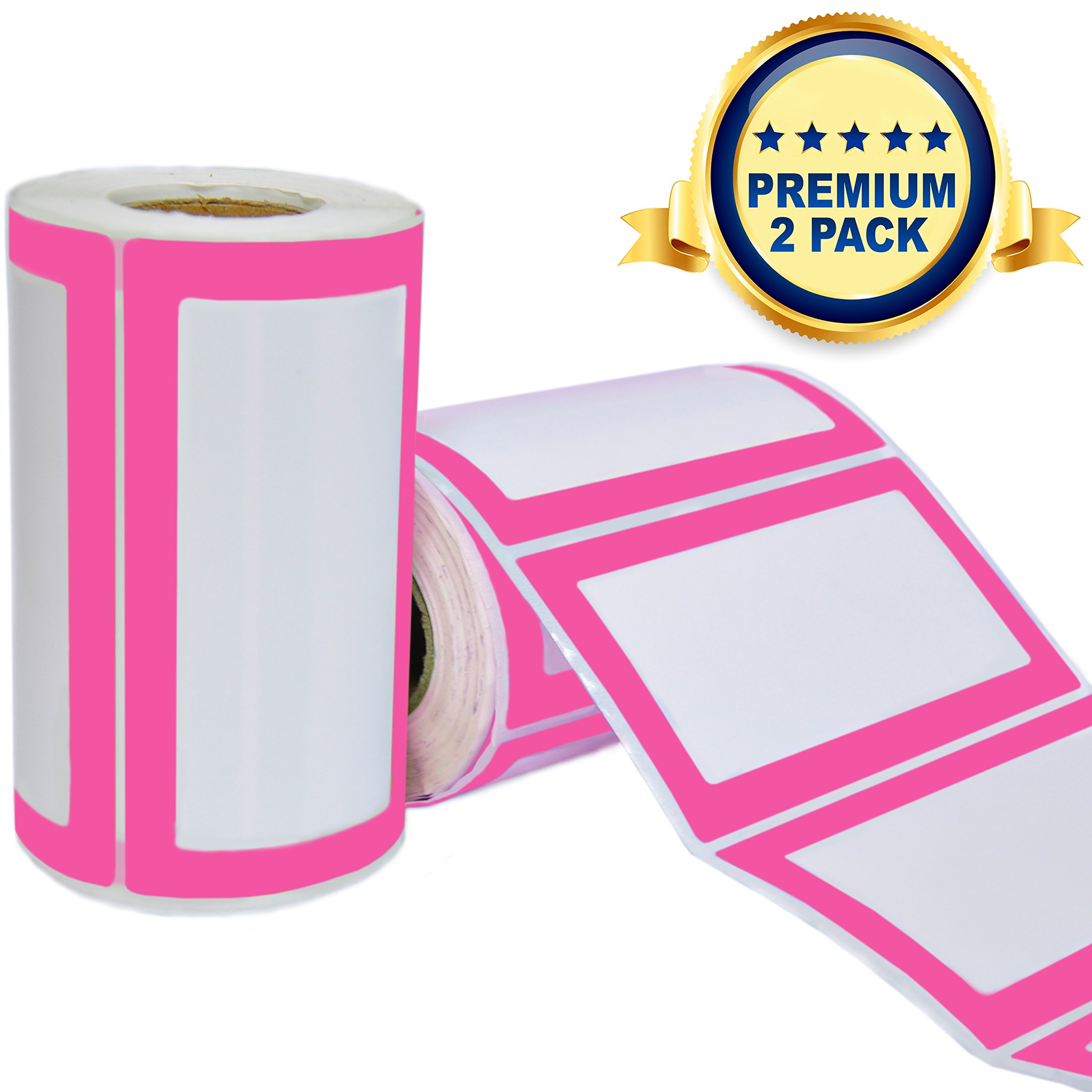 Colorful Plain Name Tag Labels - 2 Rolls 500 Stickers in Total - 3.5 x 2 inches - Nametags for Jars, Bottles, Food Containers, Folders, Birthday Parties and Kids Clothes (Pink/Pink 2 Pack)
