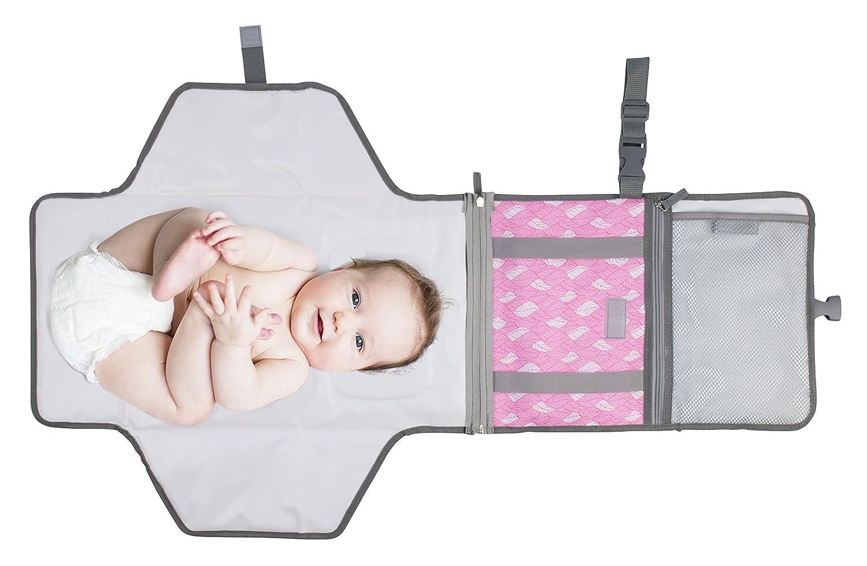 f/ür Familienreisen Grau faltbar Baby-Wickelunterlage wasserdicht Outdoor tragbar