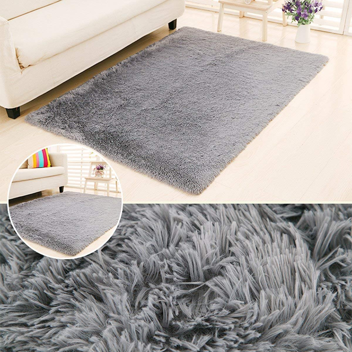 LOCHAS Ultra Soft Indoor Area Rugs Fluffy Living Room Carpets Suitable for Children Bedroom Home Decor Nursery Rugs 4 Feet by 5.3 Feet (Gray)