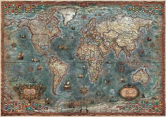Educa Borras - Genuine Puzzles, Puzzle 8.000 piezas, Mapamundi histórico (18017): Amazon.es: Juguetes y juegos