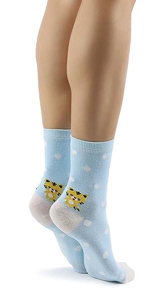 Mixmi Boutique Calcetines azules claros de las mujeres Patrón de tigre con lunares
