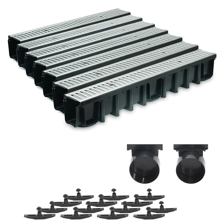 7m Entwässerungsrinne Terrassenrinne Stahlrost verzinkt komplett SET, System A15 148mm, inkl. Zubehör