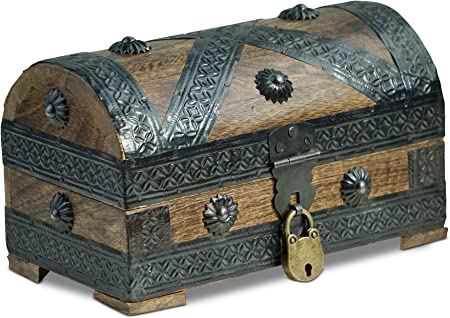 Brynnberg - Caja de Madera Cofre del Tesoro con candado Pirata de Estilo Vintage, Hecha a Mano, Diseño Retro 20x11x11cm: Amazon.es: Hogar