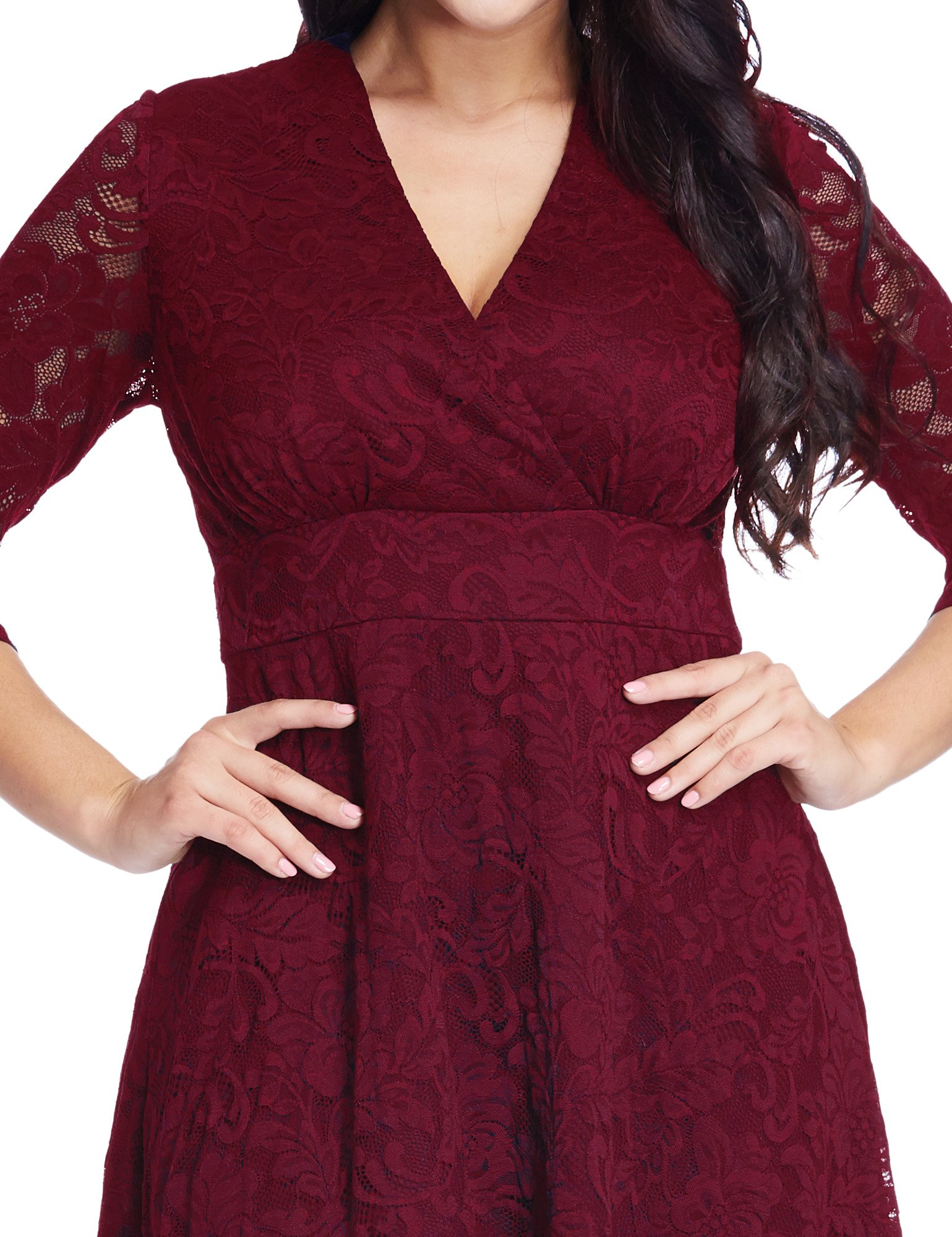 GRAPENT Women's Lace Plus Size Mother Of The Bride Skater Dress Bridal Wedding Party Maroon 16W by GRAPENT (Image #6)