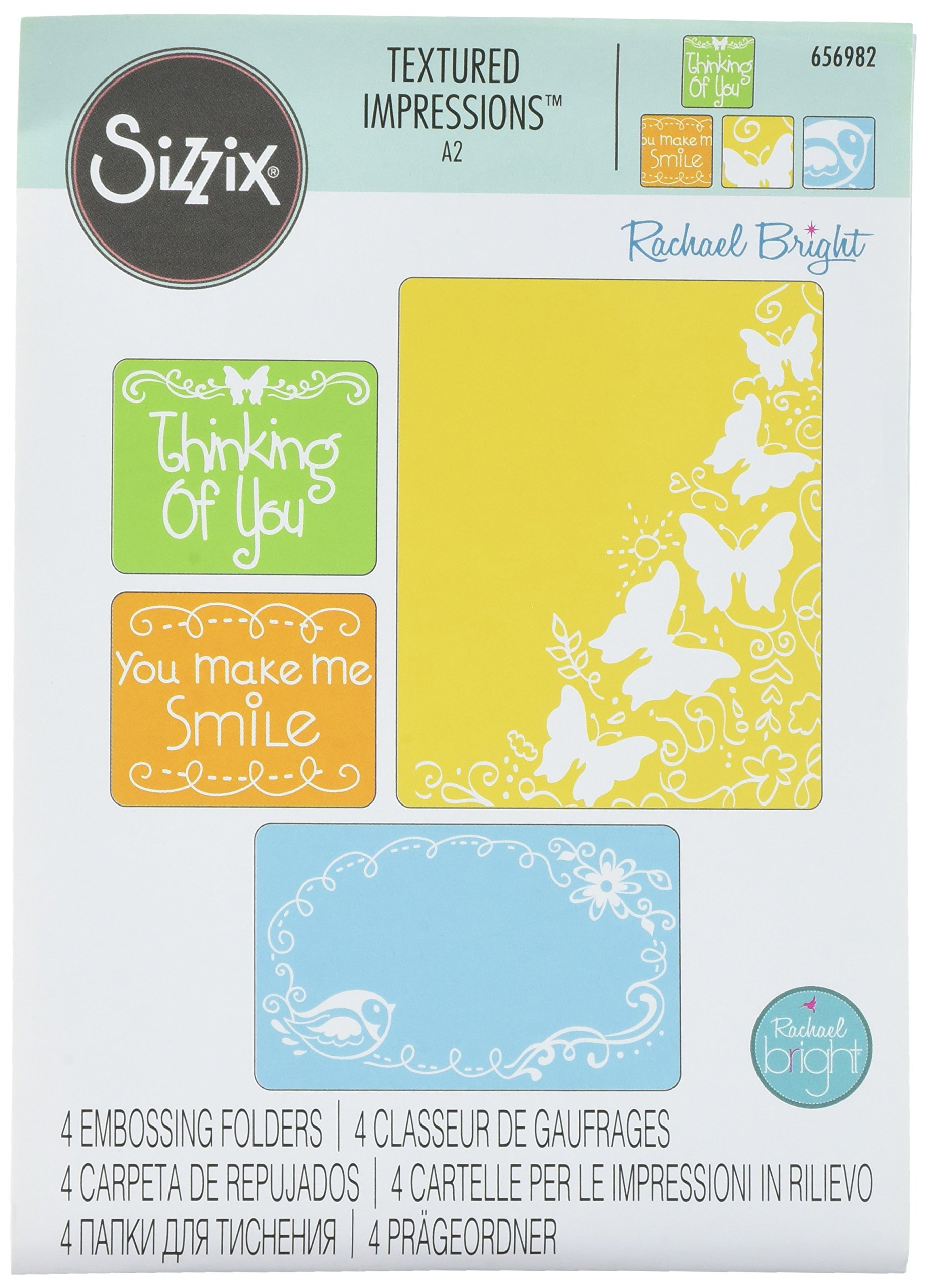 Sizzix Textured Impressions Embossing Folders 4/PK - Butterfly Migration Set by Rachael Bright