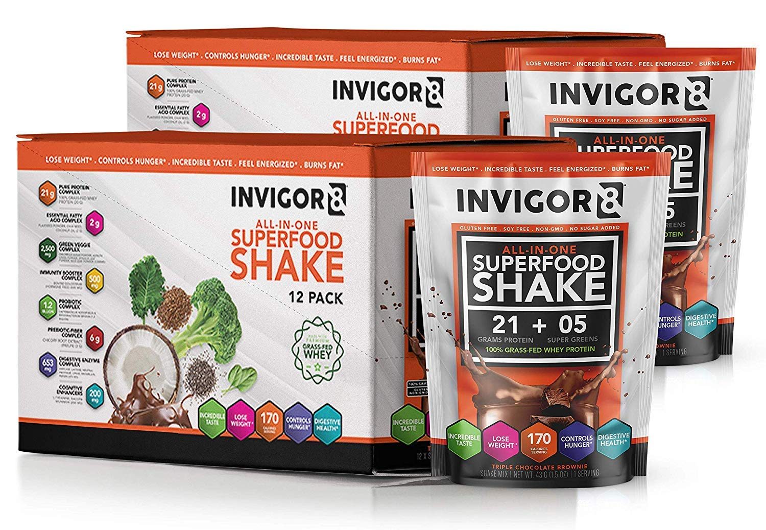 INVIGOR8 Superfood Shake Gluten-Free and Non GMO Meal Replacement Grass-Fed Whey Protein Shake with Probiotics and Omega 3 (645g) (Pouches (12-pk) Chocolate Brownie) (2 Pack Chocolate (Save 15)) by BRL (Image #1)