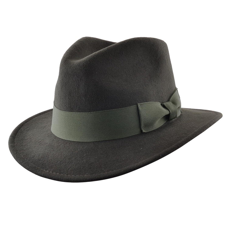 Cappello lobbia, con fascia larga, da uomo, in alta qualità, fatto a mano, modello Indiana Jones, 100% feltro di lana Fedora in alta qualità