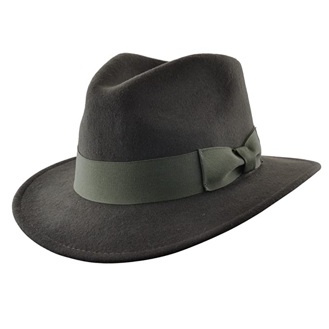 1940s Mens Hats | Fedora, Homburg, Pork Pie Hats UK- High Quality Crushable Hand Made Gents Indiana 100% Wool Felt Fedora Trilby Hat With Wide Band £25.99 AT vintagedancer.com