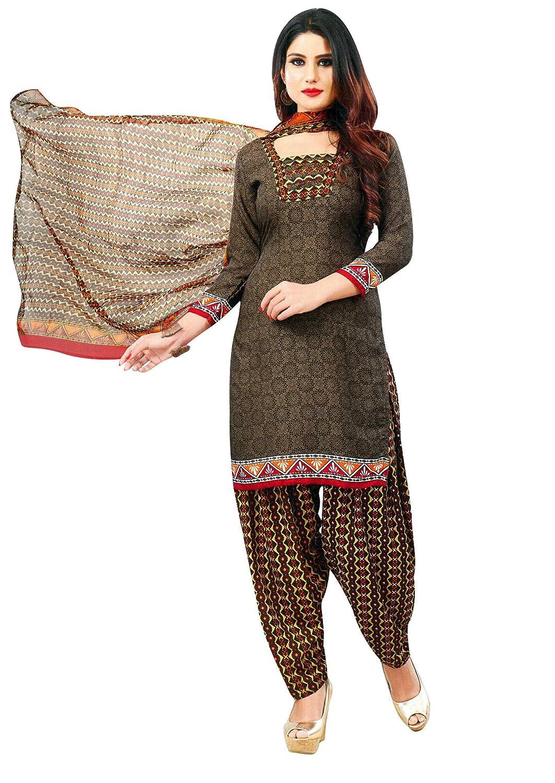 Brown2 (Pm21) Ladyline Womens Faux Crepe Printed Salwar Kameez Suit Indian Pakistani Stitched Dress