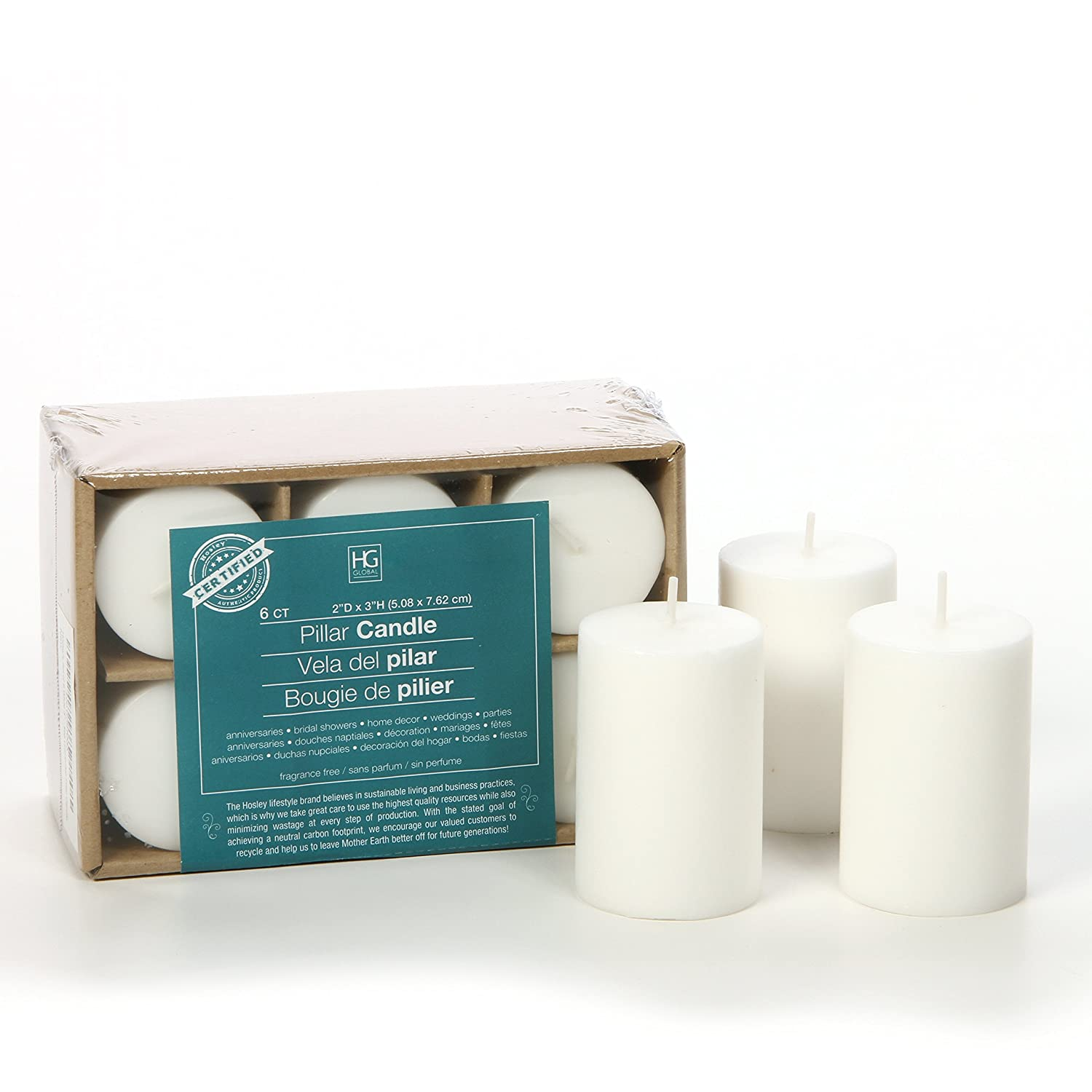 Hosley 3 High Pillar Candles, SET OF 6. WHITE, Unscented. Bulk Buy, using a High Quality Wax Blend. Ideal for Wedding, Emergency Lanterns, Spa, Aromatherapy, Party, Reiki, Candle Gardens HG Global FBA-G08902ON-1-EA