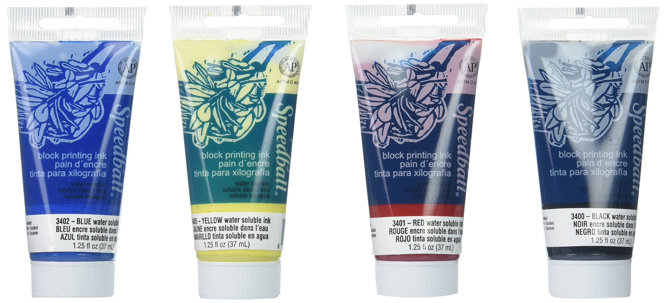 Speedball Water-Soluble Block Printing Ink Set – 4 Bold Colors With Satiny Finish - 1.25 FL OZ Tubes
