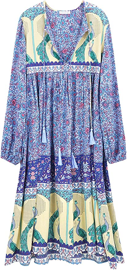 70s Dresses – Disco Dress, Hippie Dress, Wrap Dress R.Vivimos Womens Long Sleeve Floral Print Retro V Neck Tassel Bohemian Midi Dresses $29.99 AT vintagedancer.com