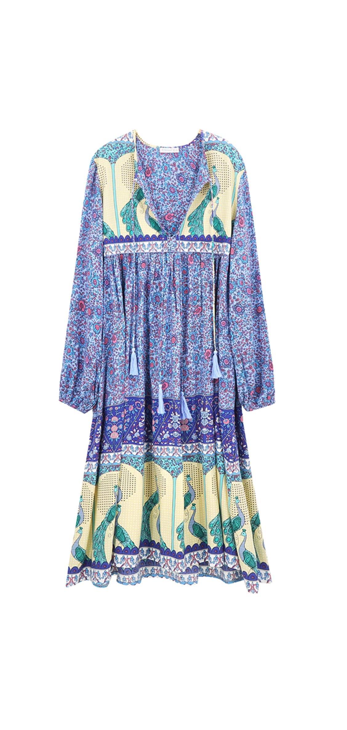 Women's Long Sleeve Floral Print Retro V Neck Tassel