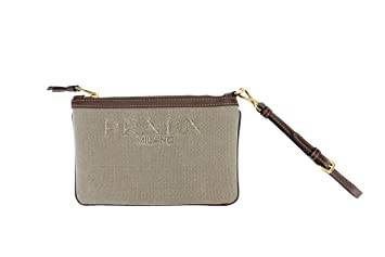 7aaedf589a75 Image Unavailable. Image not available for. Color: Prada Canvas Fabric  Signature Logo Cosmetic Wristlet Pouch ...