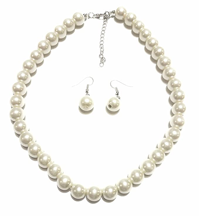 1950s Costumes- Poodle Skirts, Grease, Monroe, Pin Up, I Love Lucy Large Faux Pearl Necklace and earring set By Millennium Design $8.99 AT vintagedancer.com