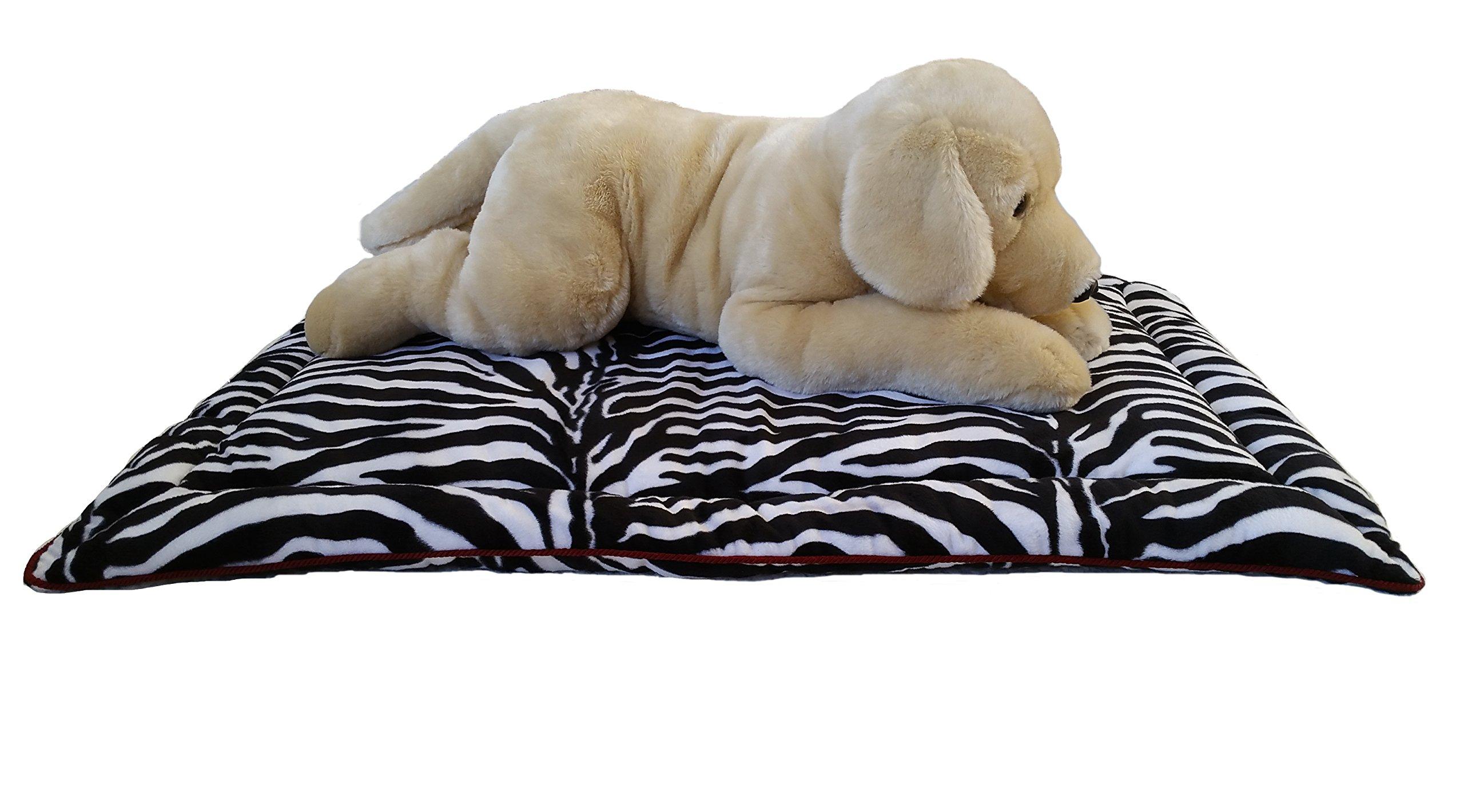 Designer Duds for Dogs Zebra Faux Fur Dog Mat w/Trim (L) 42''x28''