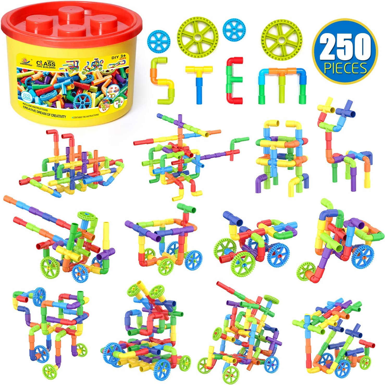 WishaLife 250 Pieces Tube Toys, Sensory Toys, Toy Pipe, Tube Locks Set, Tubular Spout Construction Building Blocks Set, Educational STEM Building Learning Toys with Wheels for Kids Boys Girls