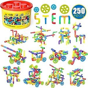 WishaLife 250 Pieces Tube Toys, Sensory Toys, Toy Pipe, Tube Locks Set, Tubular Spout Construction Building Blocks Set, Educational STEM Building Learning Toys with Wheels for Kids Boys Girls
