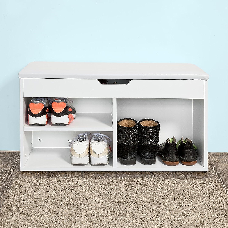 Blanc SoBuy/® FSR27-W Banc Commode /à Bottes Chaussures avec Coussin Rembourr/é Meuble dEntr/ée