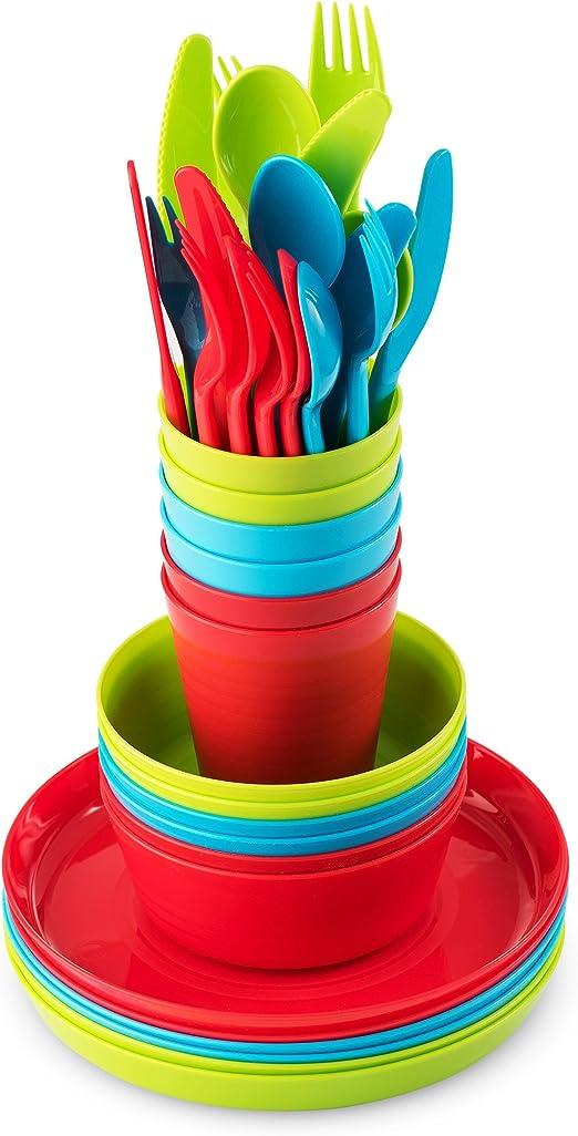 Juego de 6 vajillas de plástico de Plaskidy, 36 piezas, incluye ...