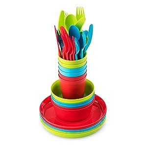 Plastic Dinnerware Set of 6 By Plaskidy- 36-Piece Kids Dinnerware Set Includes, Kids Cups, Kids Plates, Kids Bowls, Flatware Set, Kids Dishes Set are Reusable, Microwave - Dishwasher Safe, BPA Free.