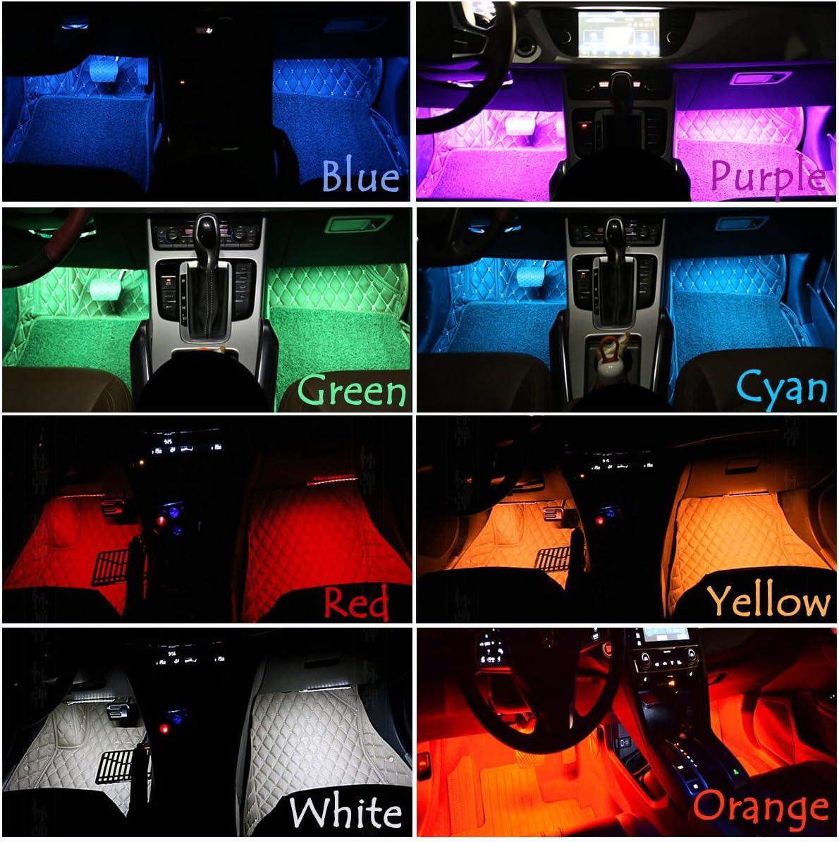 Possbay Universel Voiture Auto Lampes Int/érieures D/écoration Atmosphere 4X 9 LED d/écoration Lampes 12V Color/é avec Contr/ôleur et Commande Vocale
