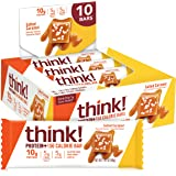 Think! (Thinkthin) Protein+ 150 Calorie Bars - salted Caramel, 10g Protein, 5g Sugar, No Artificial Sweeteners, Gluten Free,