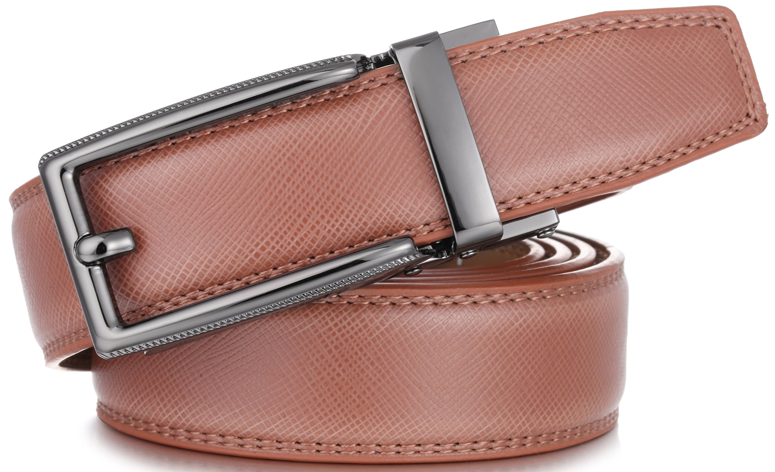 Marino Men's Genuine Leather Ratchet Dress Belt with Open Linxx Buckle, Enclosed in an Elegant Gift Box - Light Tan - Style 70 - Custom: Up to 44'' Waist by Marino Avenue (Image #4)