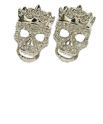 Simon Carter Hombres Swarovski Crystal Tattoo coronado gemelos cráneo Plata única Talla: Amazon.es: Ropa y accesorios