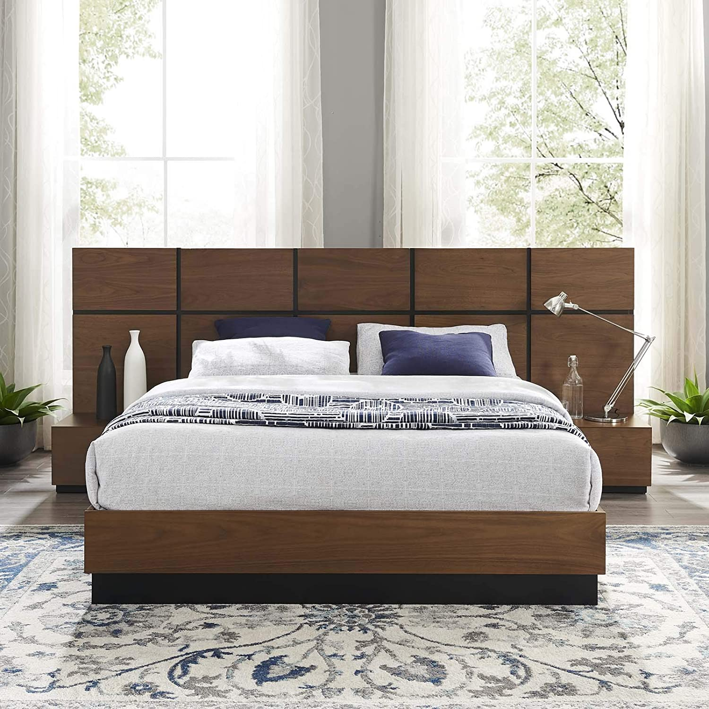 Walnut Modway Caima 3 Piece Queen Bedroom Set