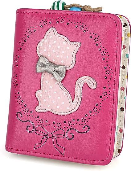 UTO Cute Cat borsa del Portafoglio Bifold in Pelle sintetica per Ragazza Porta carte carino gatto Piccola borsa Cammello