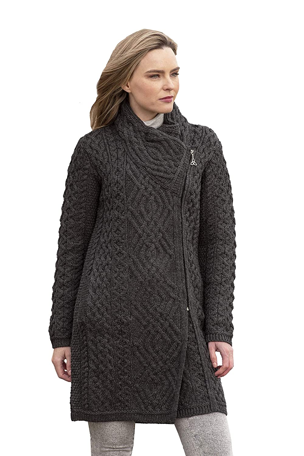 Charcoal Aran Crafts Cable Knit Side Zip Coat (100% Merino Wool) in Wine, Grey, Army Green Colours