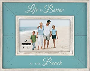 Malden International Designs Sun Washed Woods Vacation Memories Life is Better at the Beach Turquoise Distressed Picture Frame, 4x6, Turquoise