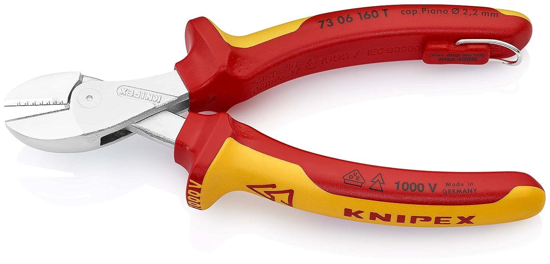 VDE-gepr/üft 160 mm Knipex 73 06 160 T X-Cut Kompakt-Seitenschneider mit Befestigungs/öse verchromt isoliert mit Mehrkomponenten-H/üllen