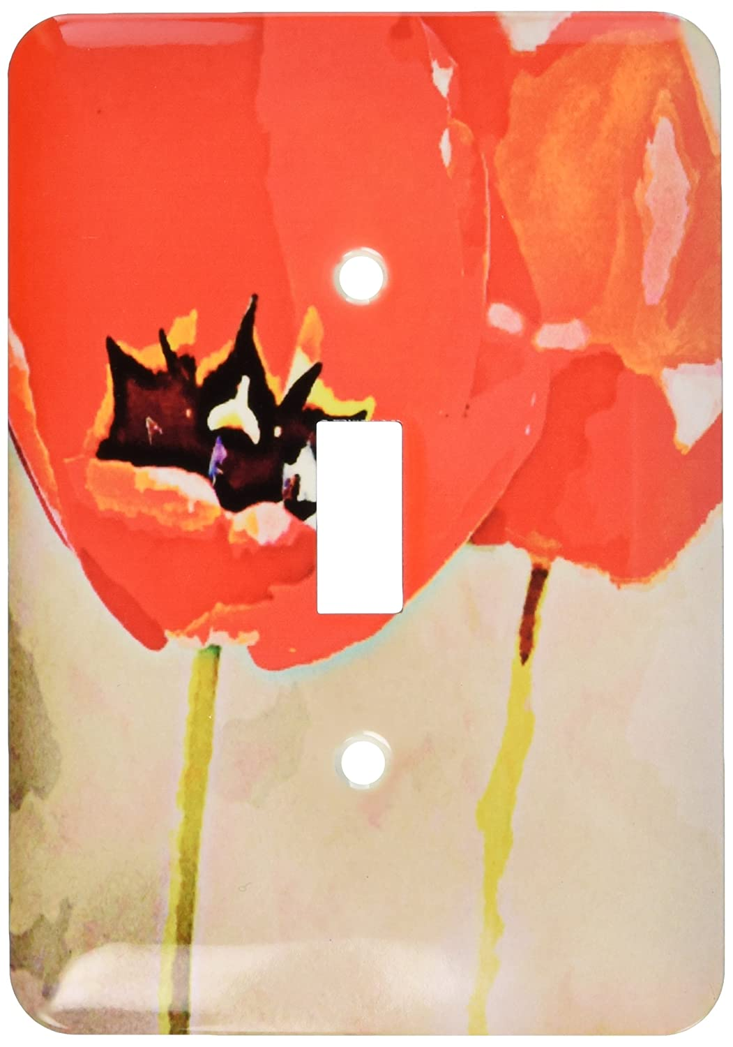3dRose lsp/_56283/_1 Painted Red Poppies Flowers Floral Print Single Toggle Switch