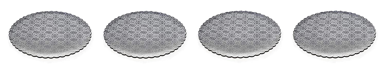 C-Flute W PACKAGING WPSCC12 12 Silver Scalloped Edge Cake Circle Corrugated with Coated Embossed Foil Paper Pack of 100