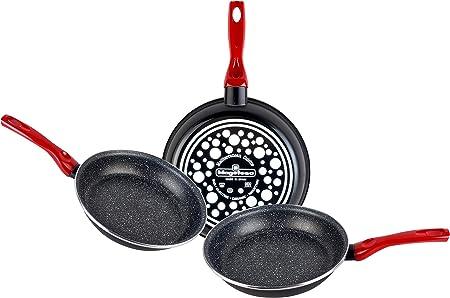 Magefesa Niger Juego 3 sartenes 20Ø24Ø26Ø de Acero Esmaltado con antiadherente multicapa efecto piedra, aptas para todo tipo de cocina, incluida inducción, Negro: Amazon.es: Hogar
