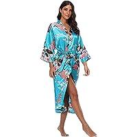 WitBuy Women's Kimono Robe Long Floral Wedding Robes Bridesmaids Satin Silk Bathrobe Lightweight Pockets