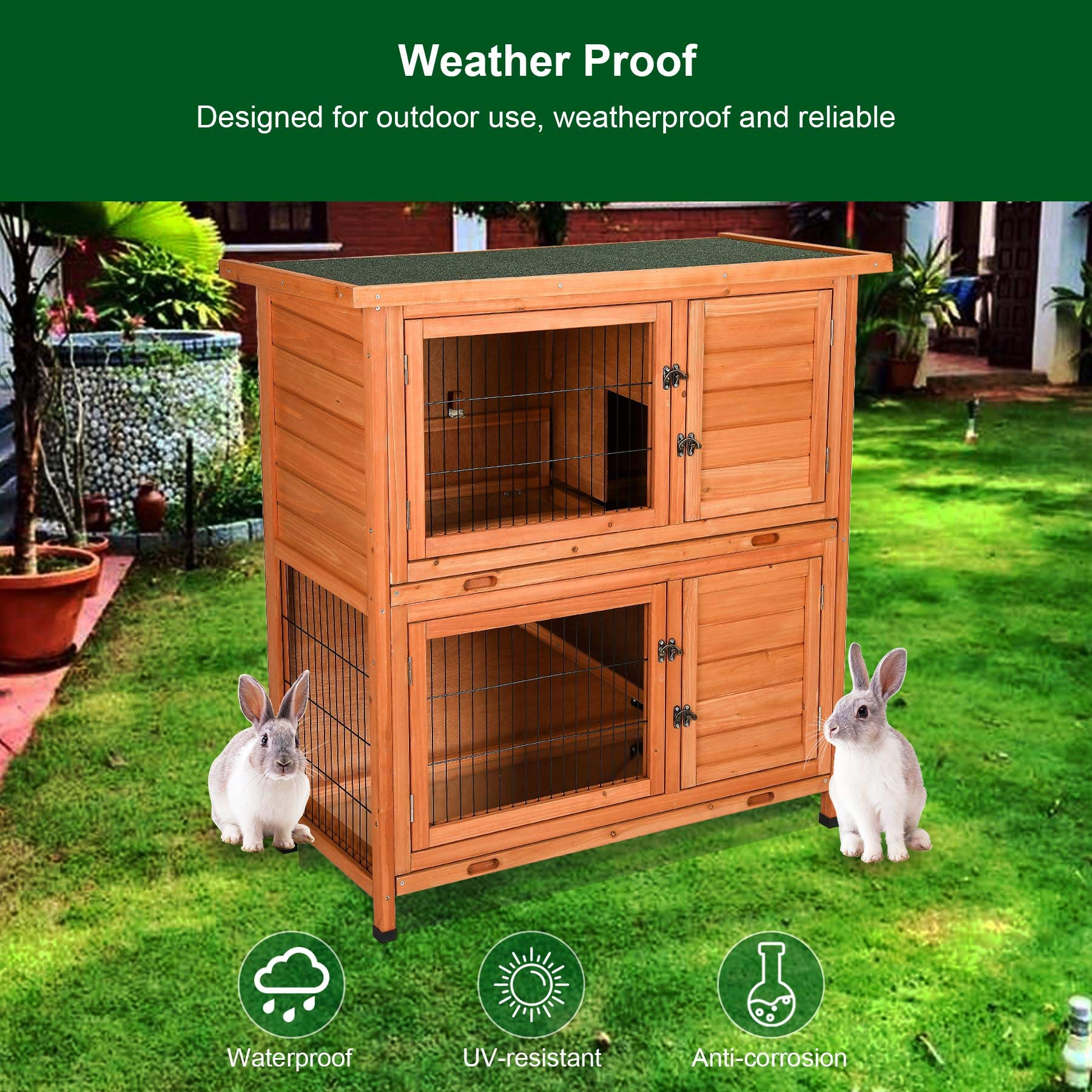 CO-Z 2 Story Outdoor Wooden Bunny Cage Rabbit Hutch Guinea Pig House in Nature Color with Ladder for Small Animals by CO-Z (Image #6)