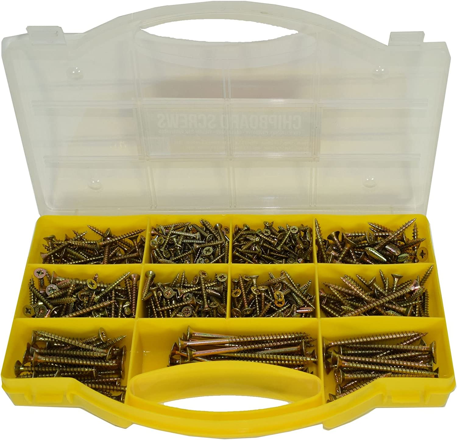5mm 780pc Assorted Pozi Drive Chipboard And Wood Screws Countersunk Bits 3