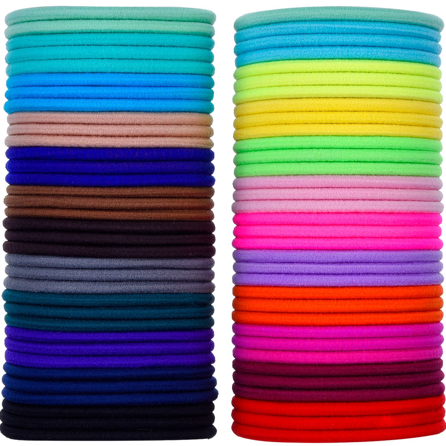 69 Pieces 3mm Multicolor Elastic Hair Bands Hair Tie No Metal Gentle Elastics eBoot