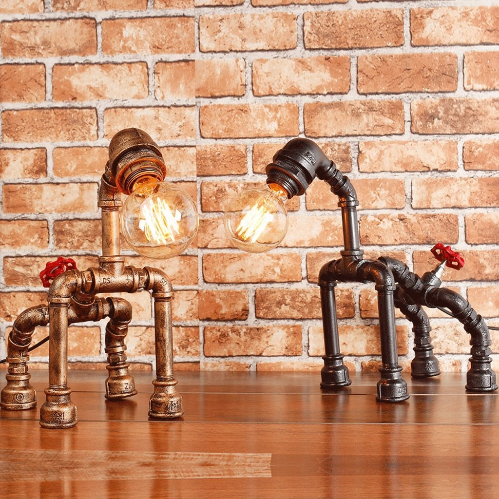 Retro Style Creative Antique Iron Embroidery Personality Empty Water Pipe Table Lamp With Red Valve Handle And Switch -Rustic Steampunk Table Lamp Voltage: 111V ~ 240V ( Color : Silver black )
