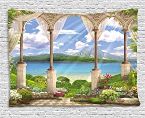 Ambesonne Italian Decor Tapestry by, Old Stone Arch View The Sea Balcony Fresco Garden Plants, Wall Hanging for Bedroom Living Room Dorm, 60 X 40 Inches, Multicolor