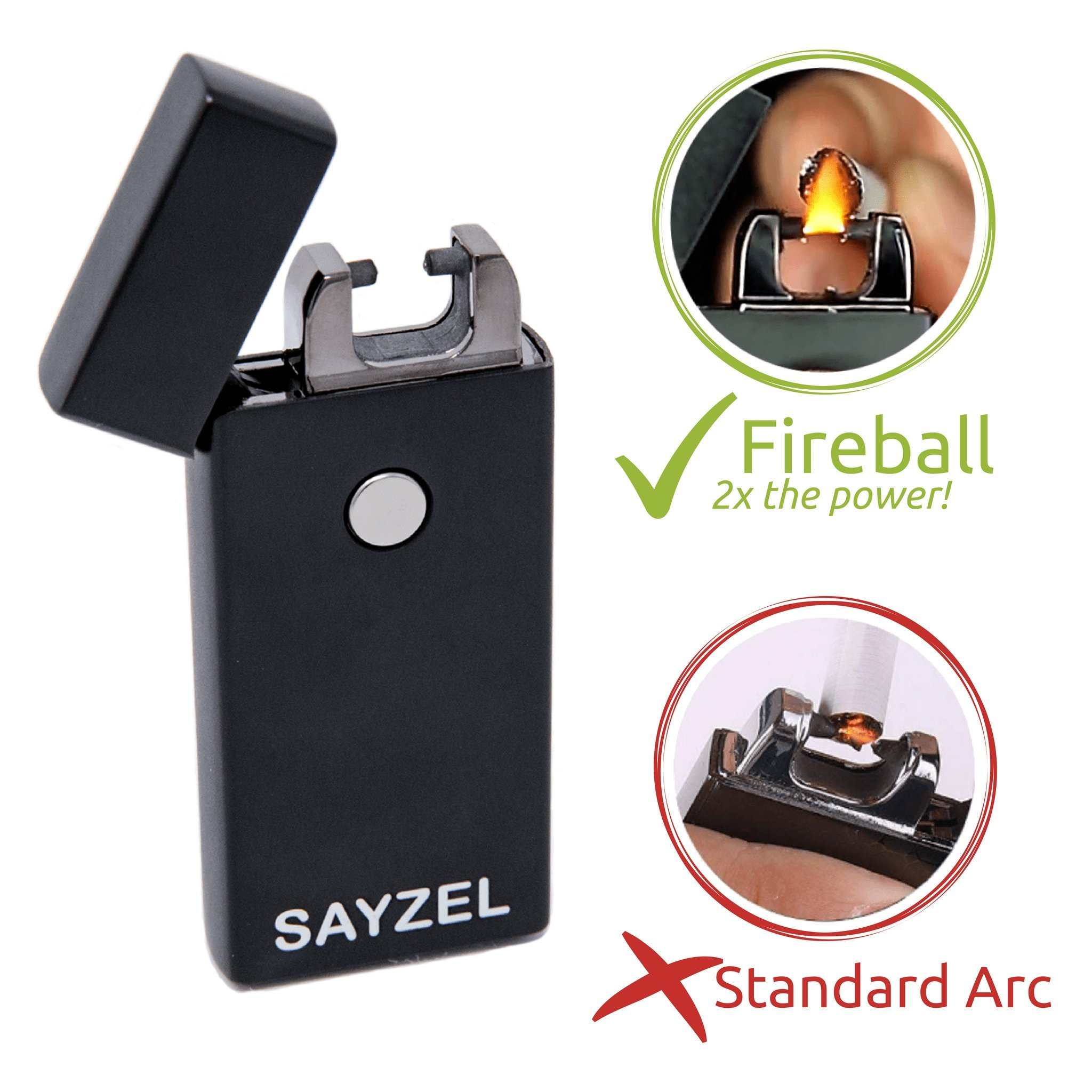 Atomic Arc Lighter with New Fireball Tech — Windproof Electric Plasma Lighter — USB Rechargeable, USB Charge Cable Included — Fun Flame Lighter — Great for Cigarettes, Cigars, Candles, and More