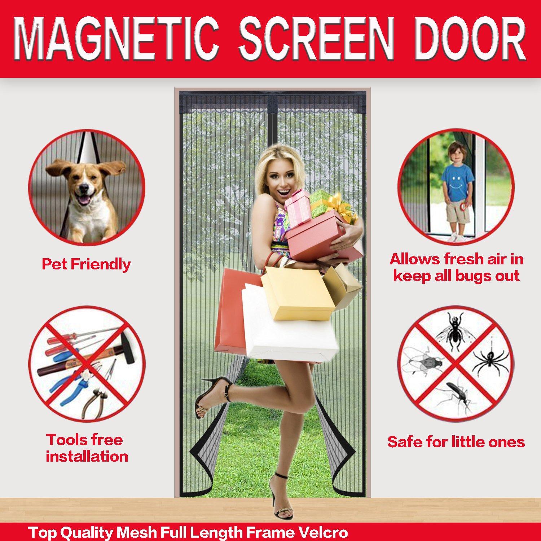 Mysuntown Magnetic Screen Door. Fit Door Size 34''x82'' Screen Door Mesh with Full Frame Magic Stickers - Good for Kids and Dogs