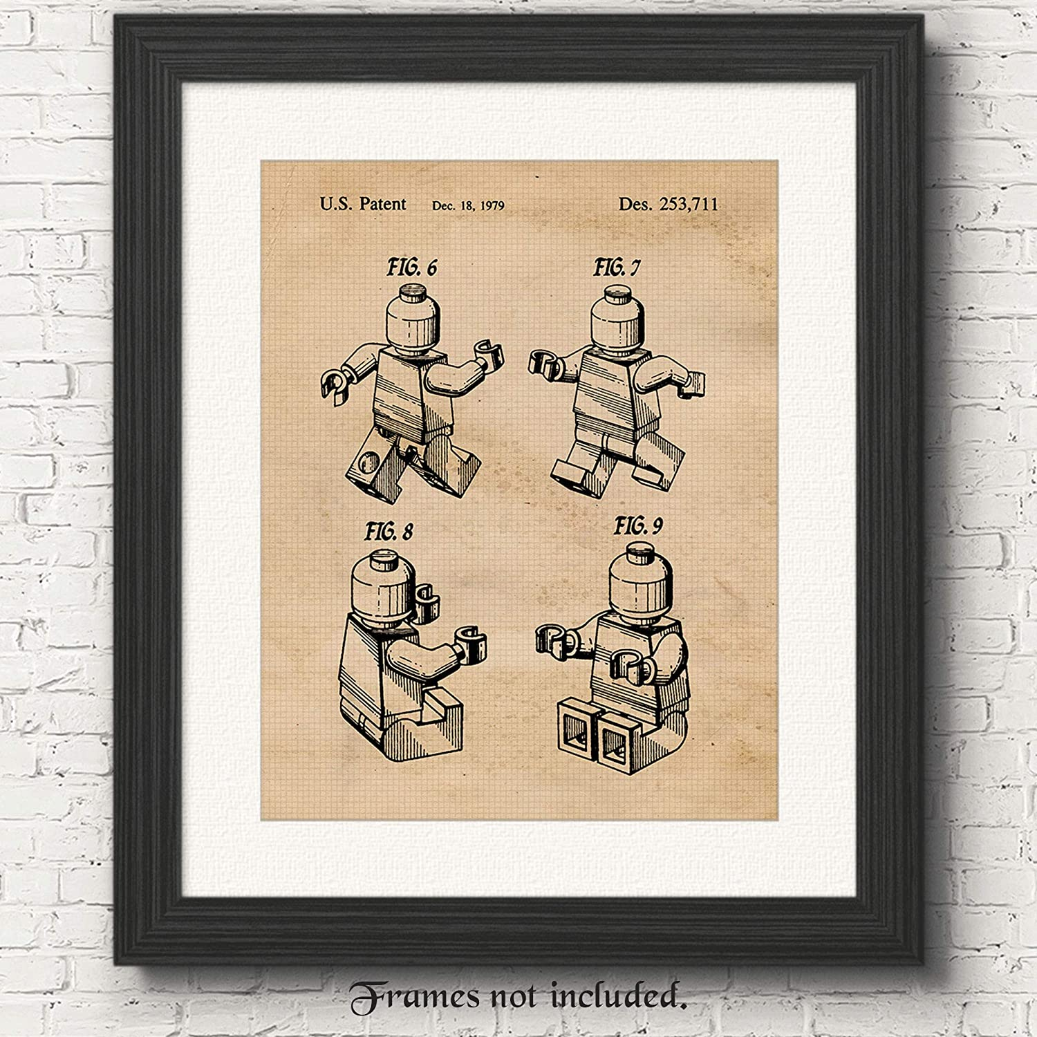Vintage Lego Patent Poster Prints, Set of 1 (11x14) Unframed Photo, Wall Art Decor Gifts Under 15 for Home, Office, Garage, Man Cave, College Student, Teacher, Children, Comic-Con & Movies Fan