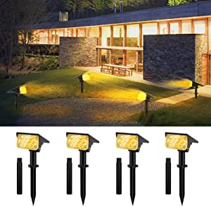 CHINLY Solar Powered Spot Lights Outdoor, Landscape Solar Lights 20 LEDs Decor Spotlight with Extension Stake, IP67 Wireless Wall Lights for Patio Yard Garden Driveway Pool 4 Pack (Warm White)