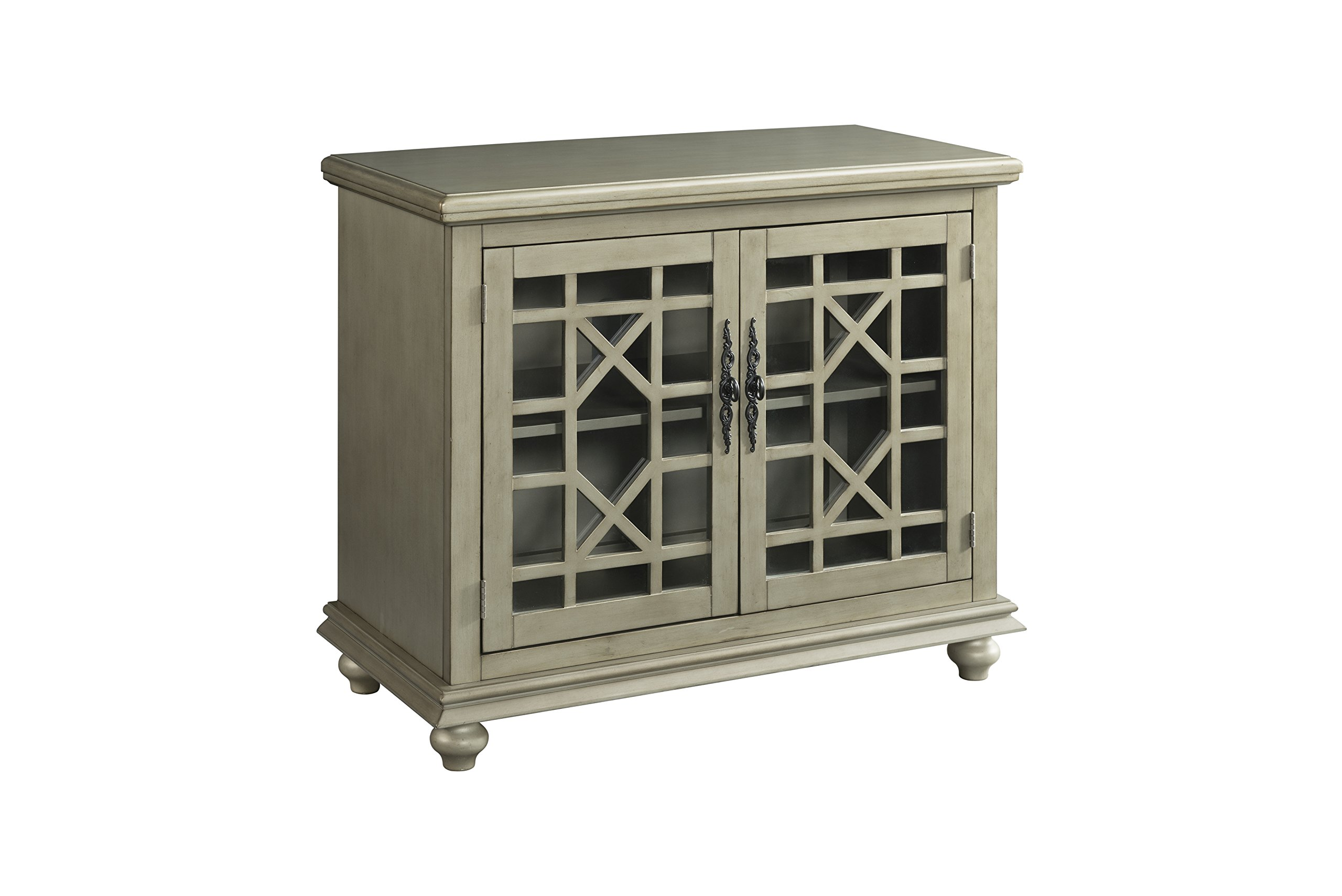 Martin Svensson Home 91034 Small Spaces 2 Door Accent Cabinet-TV Stand, 38'' W x 32'' H, Antique Silver