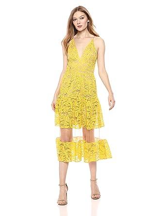 b4ec5cb5e4357 Dress the Population Women s Summer Plunging Lace Illusion Fit   Flare Midi  Dress  Amazon.co.uk  Clothing